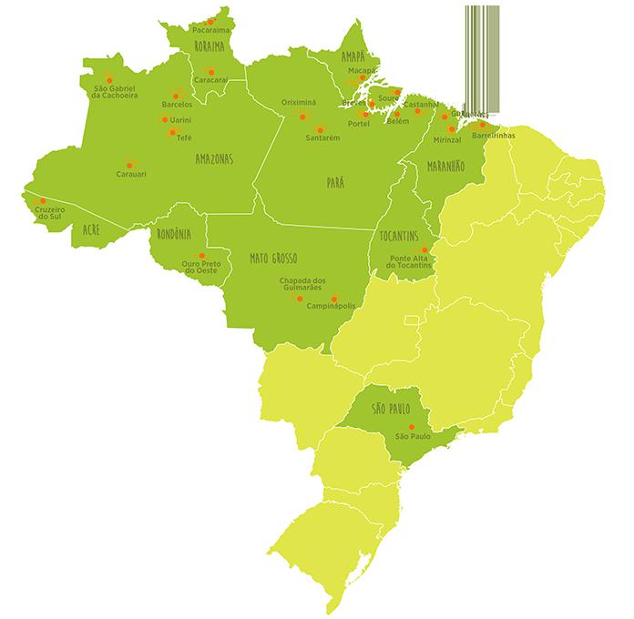 Mapa do Brasil com as bibliotecas da Vaga Lume destacadas, encompassando toda a região norte, Maranhão, Mato Grosso e São Paulo